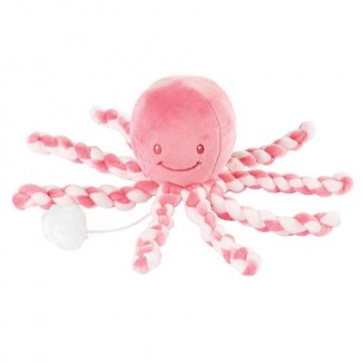 Nattou První hračka miminka hrající chobotnička PIU PIU Lapidou pink coral - light pink 0m +