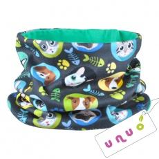 UNUO-Nákrčník UNI fleece Kočka a pes kluk