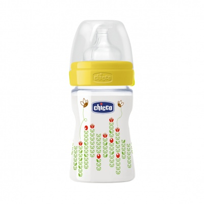 Chicco Láhev Well-Being 150 ml, silikonový dudlík normální průtok, žlutá včelky