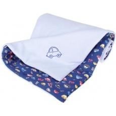 KAARSGAREN-Zateplená dětská deka světle modrá autíčko výšivka