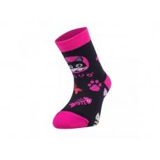 UNUO-Bambusové ponožky kočka růžové