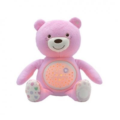 CHICCO Medvídek s projektorem - růžová 0m+