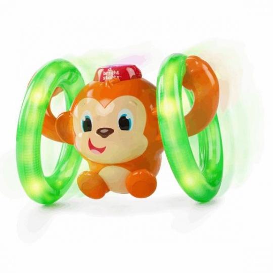 BRIGHT STARTS Hračka svítící hudební opička LLB Roll & Glow™ 6-36m