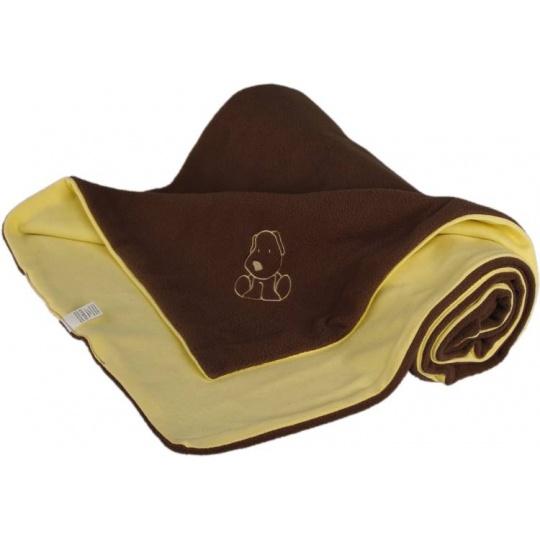 KAARSGAREN-Dětská deka hnědo žlutá s pejskem fleece bavlna