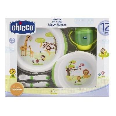 Chicco Jídelní set - talíře, příbory, sklenka, 12m+