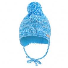 Little Angel-Čepice pletená zavazovací LA s bambulí Outlast ® - modrá melír Velikost: 5 | 49-53 cm
