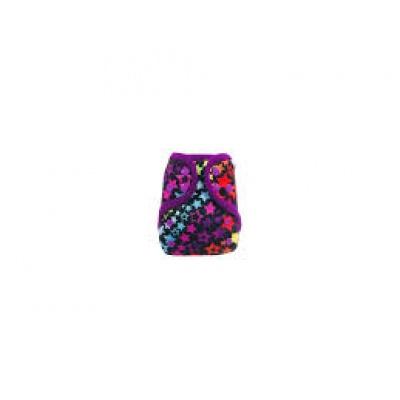 Breberky-Svrchní kalhotky MINI - Hvězdná duha PAT (PUL klasik/18), fialové patentky + fialové lemováníí-s křidélky