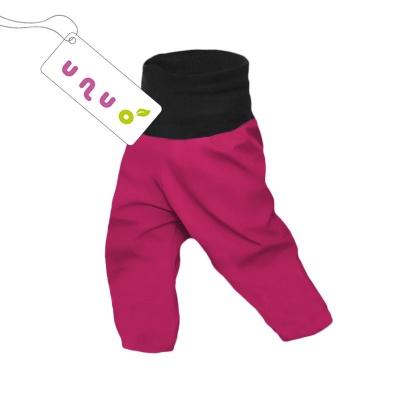 UNUO-Dětské letní softshellové kalhoty s membránou tm. malina