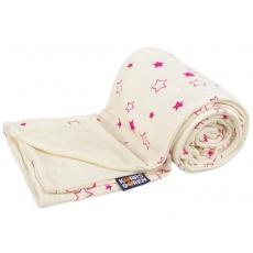 KAARSGAREN-Dětská merino deka bio fuchsiové hvězdičky