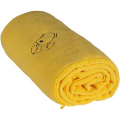 KAARSGAREN-Dětská flísová deka s pejskem žlutá