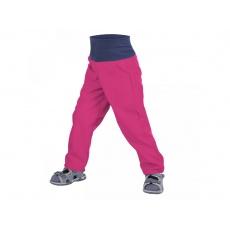 UNUO-NEW Batolecí softshellové kalhoty bez zateplení Malinová-vel. 86/92