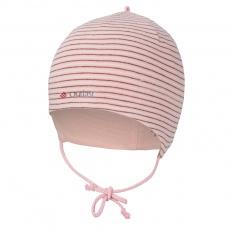 Little Angel-Čepice smyk zavazovací Outlast ® - pruh pudrbordó Velikost: 1   36-38 cm