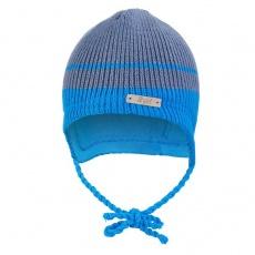 Little Angel-Čepice pletená zavazovací LA Outlast ® - denim pruh Velikost: 2 | 39-41 cm