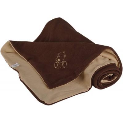 KAARSGAREN-Dětská deka hnědo béžová s pejskem fleece bavlna