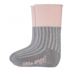 Little Angel-Ponožky froté Outlast® - tm.šedá/sv.růžová Velikost: 20-24 | 14-16 cm