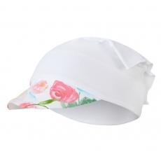 Little Angel-Šátek tenký kšilt Outlast® - bílá/kytky na bílé Velikost: 6   54-57 cm