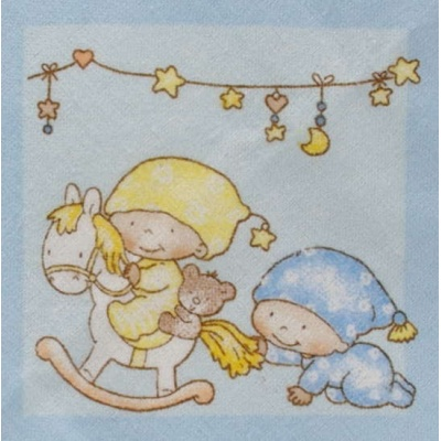 KAARSGAREN-Flanelové povlečení do postýlky modré miminka