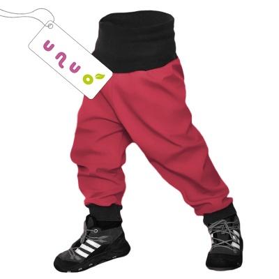 UNUO-Batolecí softshellové kalhoty s fleecem jahoda-vel. 86/92