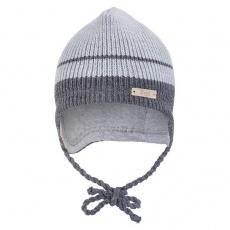 Little Angel-Čepice pletená zavazovací LA Outlast ® - sv.šedá pruh Velikost: 1 | 36-38 cm