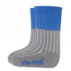 Little Angel-Ponožky froté Outlast® - tm.šedá/modrá Velikost: 10-14 | 7-9 cm