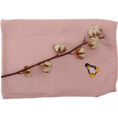 KAARSGAREN-Oboustranná deka biobavlna růžová s tučňákem