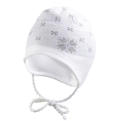 Little Angel-Čepice pletená zavazovací norská hvězda Outlast ® - bílá Velikost: 2, 39-41 cm