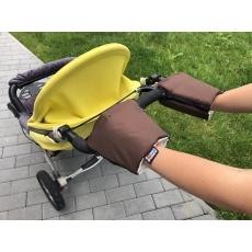 KAARSGAREN-Hnědé rukavice na kočárek biobavlna