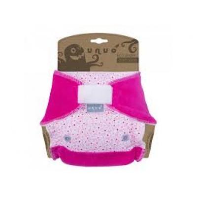 UNUO-Kalhotková plena Super Size/ Night Drobné růžové kytičky, s fuchsiovou