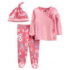 CARTER'S Set 3dílný polodupačky, tričko dl. rukáv zavinovací, čepice Pink Flower dívka LBB PRE, vel.