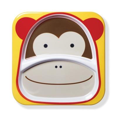 Skip Hop Zoo Talířek melaminový dělený 2v1 Opička 6m+