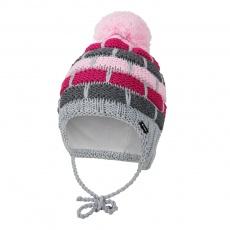 Little Angel-Čepice pletená zavazovací pruhy Outlast ® - šedorůžová Velikost: 3 | 42-44 cm