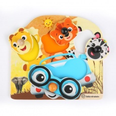 BABY EINSTEIN Hračka dřevěná puzzle Friendy Safari Faces HAPE 12m+