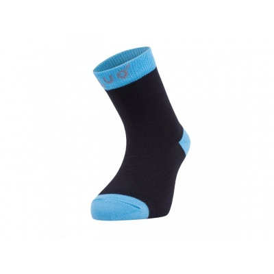 UNUO-Bambusové ponožky černé s tyrkysovou