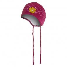 Little Angel-Čepice pletená zavazovací tenká Outlast ® - tm.růžová Velikost: 2, 39-41 cm