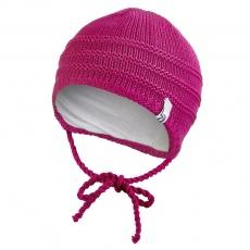 Little Angel-Čepice pletená zavazovací tenká Outlast ® - růžová Velikost: 1 | 36-38 cm