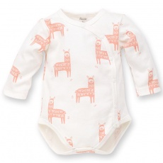 PINOKIO Body zavinovací dlouhý rukáv Happy Llama vel. 56 écru, vzor