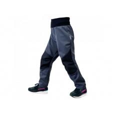 Unuo - Dětské softshellové kalhoty s fleecem pružné Flexi, Tm. Šedá, Tm. Šedá