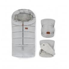 PETITE&MARS Zimní set fusak Jibot 3v1 + rukavice na kočárek Jasie Steel Grey