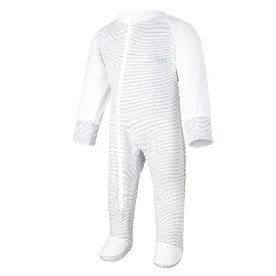 Little Angel-Overal tenký DR Outlast® - pruh bílošedý melír/bílá Velikost: 62