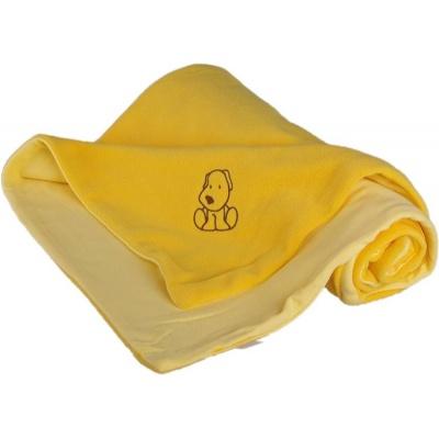 KAARSGAREN-Dětská deka žlutá s pejskem fleece bavlna