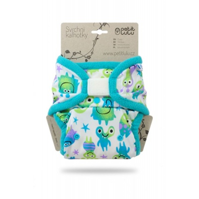Petit Lulu-Svrchní kalhotky jednovelikostní-Tyrkysové potvůrky