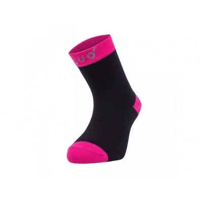 UNUO-Bambusové ponožky černé s fuchsiovou