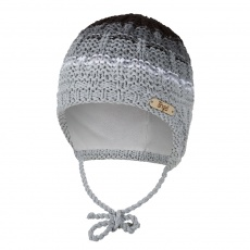 Little Angel-Čepice pletená zavazovací duha Outlast ® - šedá Velikost: 2 | 39-41 cm