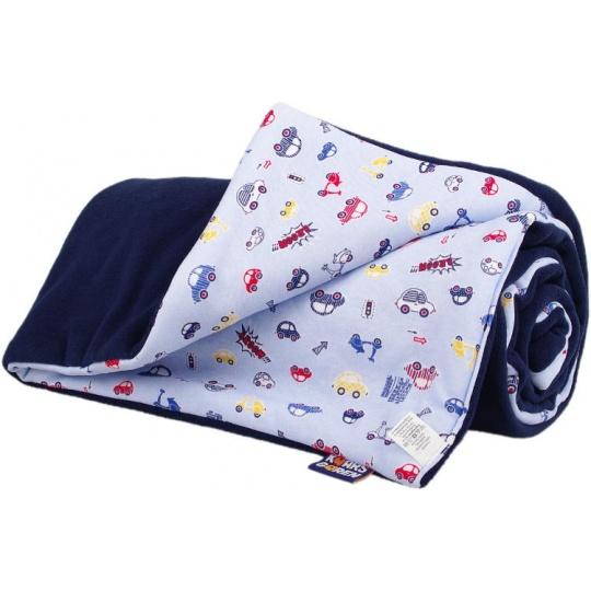 KAARSGAREN-Dětská deka tmavě modrá s autíčky fleece bavlna