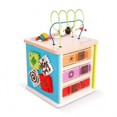 Baby Einstein Hračka dřevěná aktivní kostka Innovation Station HAPE 12m+