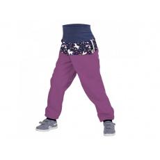 UNUO-Batolecí softshellové kalhoty s fleecem OSTRUŽINOVÁ, JEDNOROŽCI+ REFLEXNÍ OBRÁZEK EVŽEN