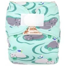 Anavy-Vlněné svrchní kalhotky na suchý zip hroši (mentolová)