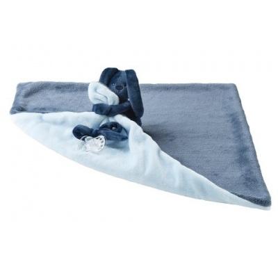Nattou Deka plyšová s mazlíčkem LAPIDOU navy blue-light blue 48cm x 48cm