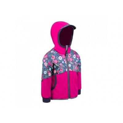 UNUO-NEW Softshellová bunda s fleecem STREET, FUCHSIOVÁ, KVĚTINKY