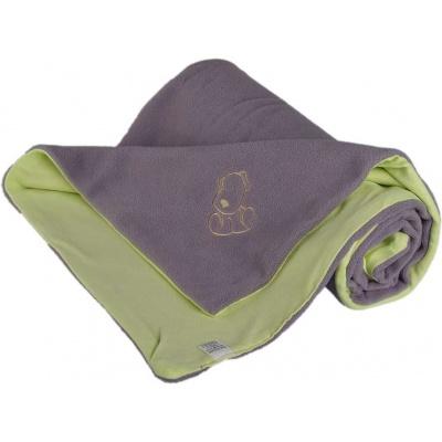 KAARSGAREN-Dětská deka šedo zelená s pejskem fleece bavlna